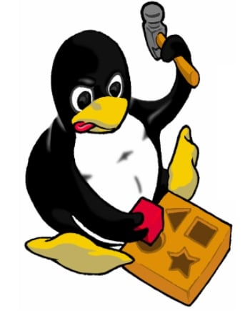 Tux, the Linux Mascot trying to put a square peg in a round hole
